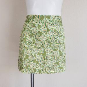 J. Crew Green Fan Pattern Tropical Mini Skirt